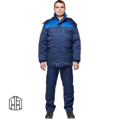 Куртка рабочая зимняя мужская з08-КУ с СОП с синяя/васильковая (размер 44-46, рост 170-176)