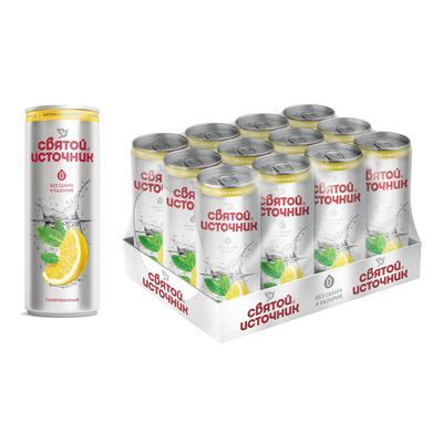 Вода питьевая Святой Источник газированная со вкусом лимона и мяты 0.33 л (12 штук в упаковке)