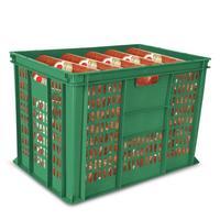 Ящик (лоток) колбасный из ПНД 600х400х410 мм перфорированный зеленый
