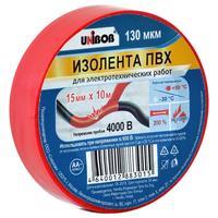 Изолента Unibob ПВХ красная 15 мм х 10 м красная