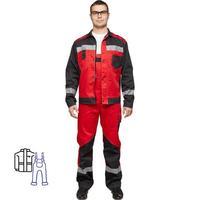 Костюм рабочий летний мужской л21-КПК с СОП красный/черный (размер 44-46, рост 182-188)