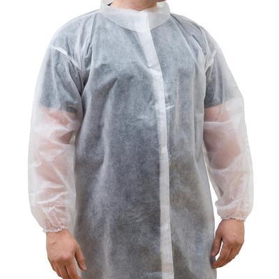 Халат одноразовый процедурный Klever на липучке размер XL белый (10 штук в упаковке)