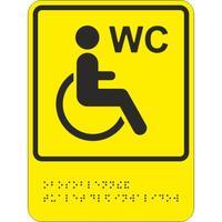 Знак безопасности Обособленный туалет/отдельная кабина для инвалидов ТП10 (200х150 мм, пластик, тактильный)