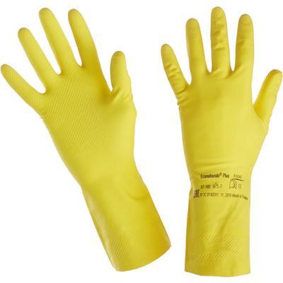 Перчатки Ansell Эконохэндс 87-190 из латекса желтые (размер 7, S)
