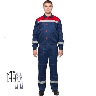 Костюм рабочий летний мужской л20-КПК с СОП синий/красный (размер 68-70 рост 170-176)