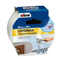 Клейкая лента малярная для внутренних работ Unibob Серпянка белая 50 мм х 20 м (стеклотканевая)