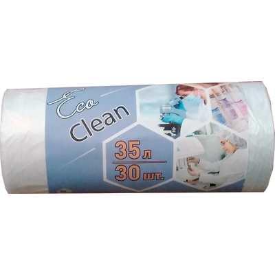 Мешки для мусора на 35 л Ecoclean белые (ПНД, 6 мкм, в рулоне 30 шт, 48х55 см)