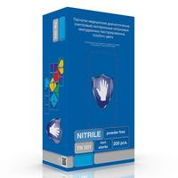Перчатки одноразовые S&C TN 301 нитриловые неопудренные голубые (размер L, 200 штук/100 пар в упаковке)