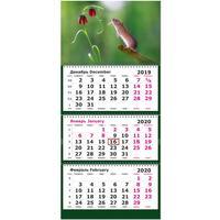 Календарь квартальный трехблочный настенный 2020 год Символ года с цветочком (305х675 мм)