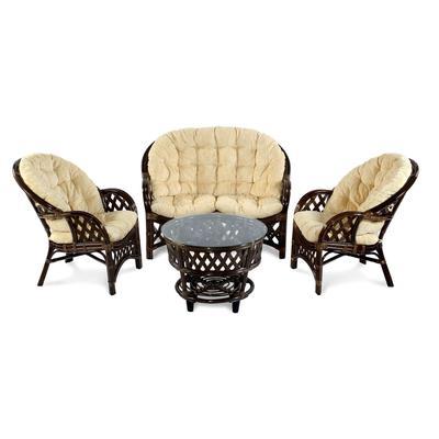 Комплект плетеной мебели Рузвельт браун (стол, 2 кресла, диван)