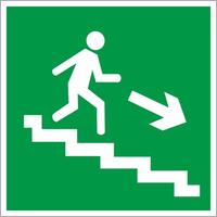 Знак безопасности Направление к эвакуационному выходу по лестнице вниз, правосторонний E13 (200х200 мм, пленка ПВХ, фотолюминесцентный)