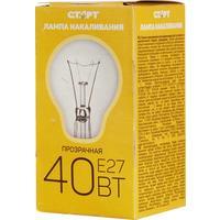 Лампа накаливания Старт 40 Вт E27 грушевидная прозрачная 2700 К теплый белый свет (10 штук в упаковке)