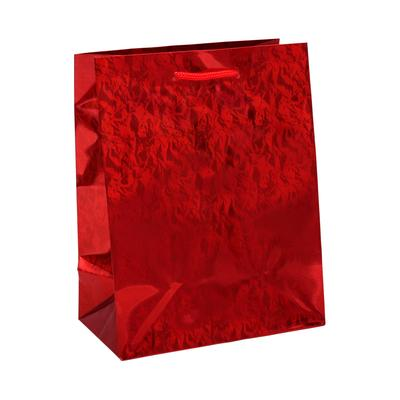 Пакет подарочный бумажный Голография Красное сияние (23x18x10 см)