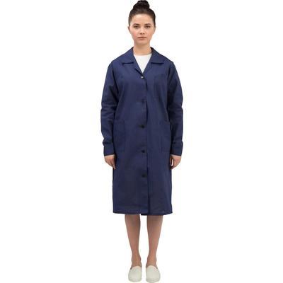 Халат рабочий женский у02-ХЛ синий (размер 64-66, рост 158-164)