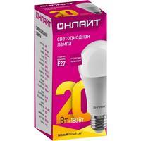 Лампа светодиодная Онлайт 20 Вт Е27 грушевидная 2700 К теплый белый свет