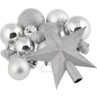 Набор новогодних украшений пластик серебристый (18 штук в упаковке)