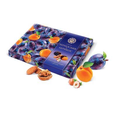 Набор шоколадных конфет Микаелло Чернослив и абрикос в шоколадной глазури с орехами 220 г