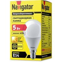 Лампа светодиодная Navigator 5 Вт E 14 шарообразная 2700 К теплый белый свет