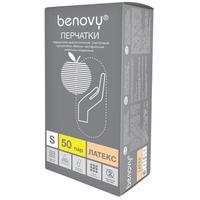 Перчатки медицинские смотровые латексные Benovy нестерильные опудренные размер S (100 штук в упаковке)