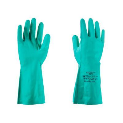 Перчатки КЩС нитрил Jeta Safety JN711 зеленые (размер 10, XL)