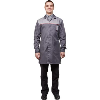 Халат рабочий мужской у19-ХЛ темно-серый/светло-серый (размер 60-62, рост 182-188)