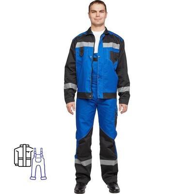 Костюм рабочий летний мужской л21-КПК с СОП васильковый/черный (размер 56-58, рост 170-176)