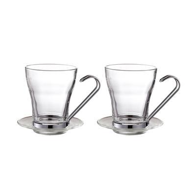 Чайная пара Gipfel Glacier стеклянная прозрачная чашка 245 мл/блюдце 2 штуки (артикул производителя 7949)