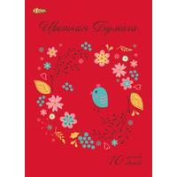 Бумага цветная №1 School Птички (А4, 10 листов, 10 цветов, офсетная)