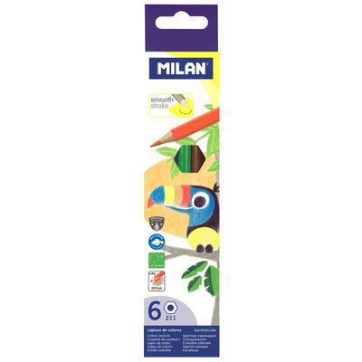 Карандаши цветные Milan 6 цветов шестигранные