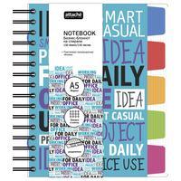 Бизнес-тетрадь креативная Attache Selection Office book 2 А5 150 листов разноцветная в клетку на спирали 5 разделителей (185x210 мм)