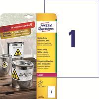 Этикетки самоклеящиеся Avery Zweckform белые 210x297мм (1 штука на листе A4, 8 листов, артикул производителя L4775-8)