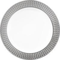Тарелка одноразовая пластиковая 190 мм белая/серебристая 10 штук в упаковке Plma Винтаж Кубики