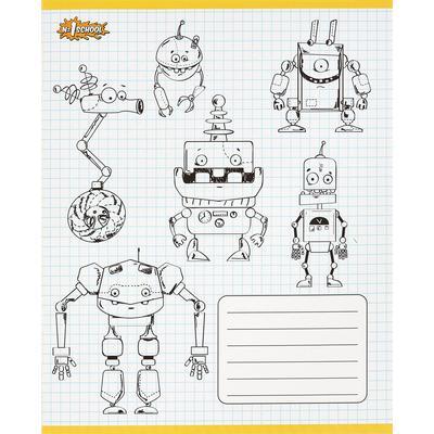 Тетрадь школьная №1 School Роботы А5 18 листов в клетку