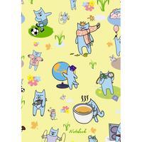 Блокнот Listoff Коты на лужайке А6 48 листов в линейку