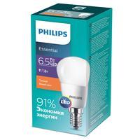 Лампа светодиодная Philips 6.5 Вт E14 сфера 2700 К теплый белый свет