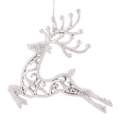 Новогоднее украшение Magic Time Олень пластик серебристое (высота 13 см)