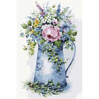 Картина по номерам Цветной Романтичный букетик в лейке