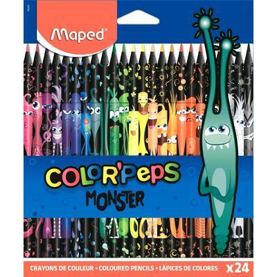 Карандаши цветные Maped Color'Peps Monster 24 цвета трехгранные