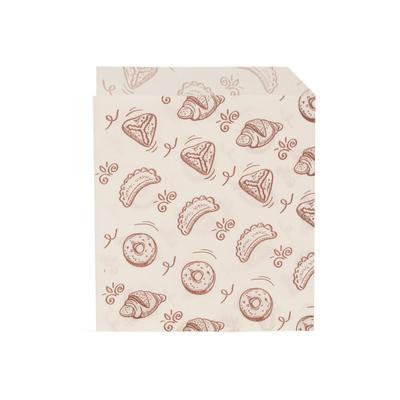 Крафт пакет бумажный для выпечки жиростойкий белый с рисунком 14х17.5 см (3500 штук в упаковке)