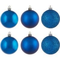 Набор елочных шаров пластик голубые (6 см, 6 штук в упаковке)