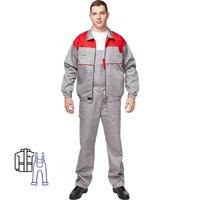 Костюм рабочий летний мужской Универсал-КПК серый/красный (размер 64-66, рост 170-176)