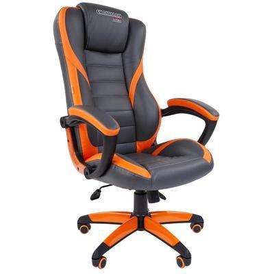 Кресло игровое Chairman Game 22 оранжевое/серое (экокожа, пластик)