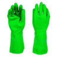 Перчатки латексные Scotch-Brite с хлопковым напылением зеленые (размер 9, L)