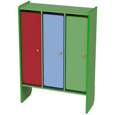 Шкаф для одежды детский М-199-3 трехсекционный (разноцветный, 1000x370x1430 мм)