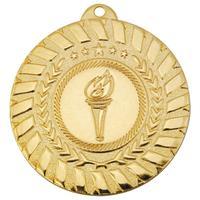 Медаль призовая 1 место Факел 50 мм золотистая