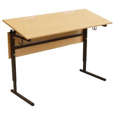 Стол ученический двухместный Березка с регулируемым наклоном столешницы (коричневый/бук, рост 4-6)