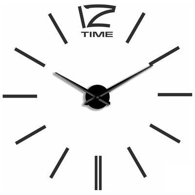 Часы настенные Эврика 3D Time самоклеящиеся (120x120x4 см) черные