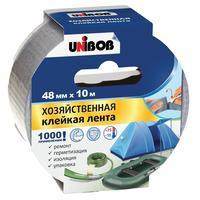 Клейкая лента армированная для хозяйственных работ Unibob серая 48 мм х 10 м толщина 170 мкм