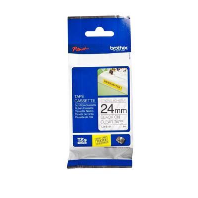 Картридж для принтера этикеток Brother TZe-S151 (24 мм х 8 м, цвет ленты прозрачный, шрифт черный)