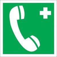 Знак безопасности Телефон связи с медицинским пунктом ЕС06 (200x200 мм, пластик)
